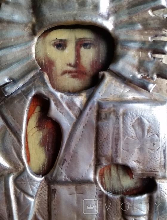 Ікона Микола Чудотворець, латунь 13,3х11,2 см, кіот, фото №11