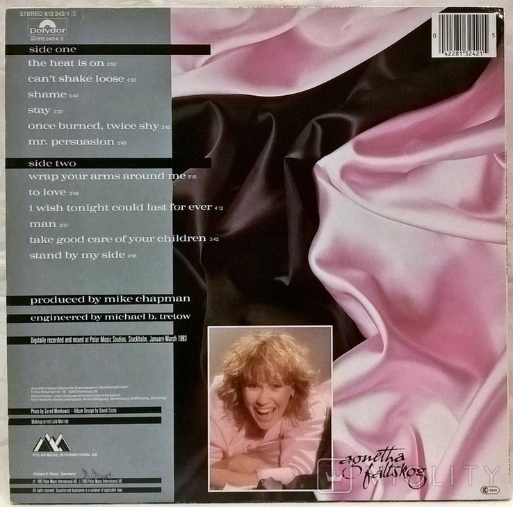 Agnetha Faltskog EX ABBA - Wrap Your Arms Around Me - 1983. Пластинка. Germany, фото №4