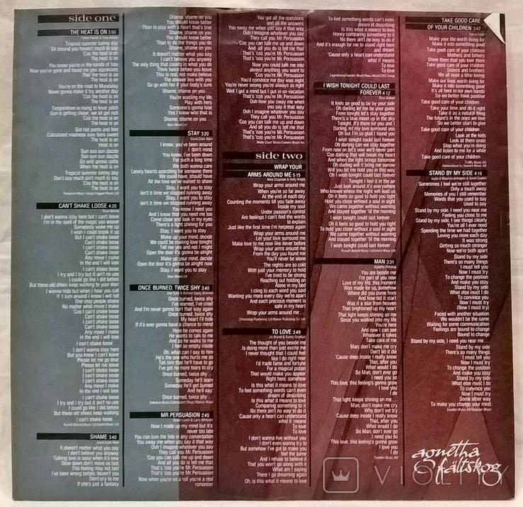 Agnetha Faltskog EX ABBA - Wrap Your Arms Around Me - 1983. Пластинка. Germany, фото №6