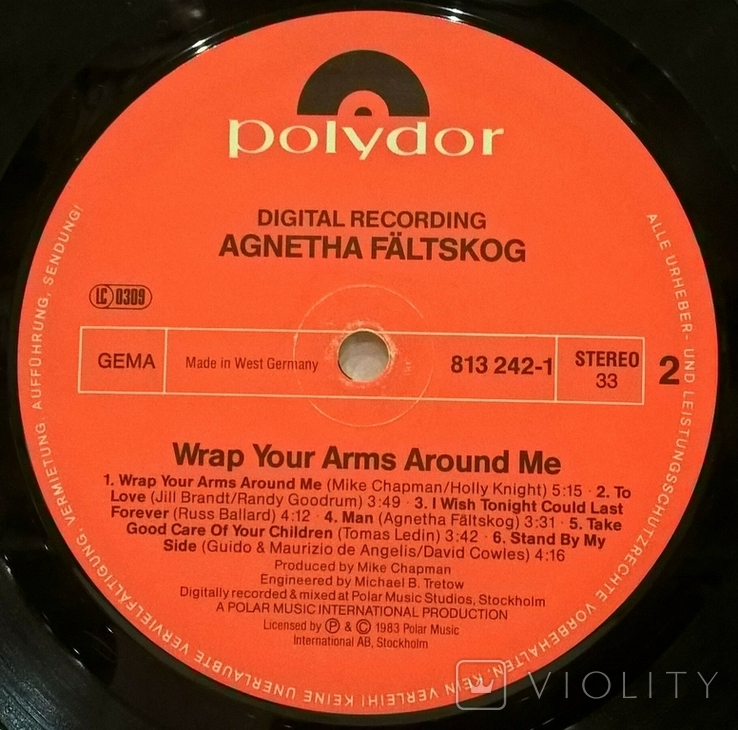 Agnetha Faltskog EX ABBA - Wrap Your Arms Around Me - 1983. Пластинка. Germany, фото №8