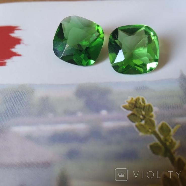 Камені із старовинних прикрас 2 шт. (зелені), фото №3