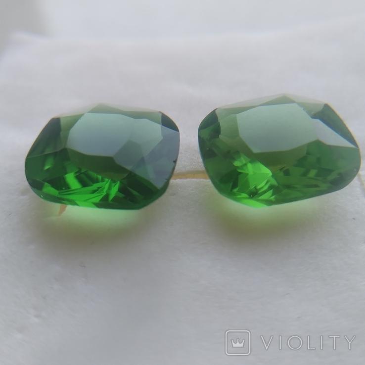 Камені із старовинних прикрас 2 шт. (зелені), фото №7