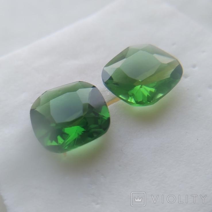 Камені із старовинних прикрас 2 шт. (зелені), фото №8