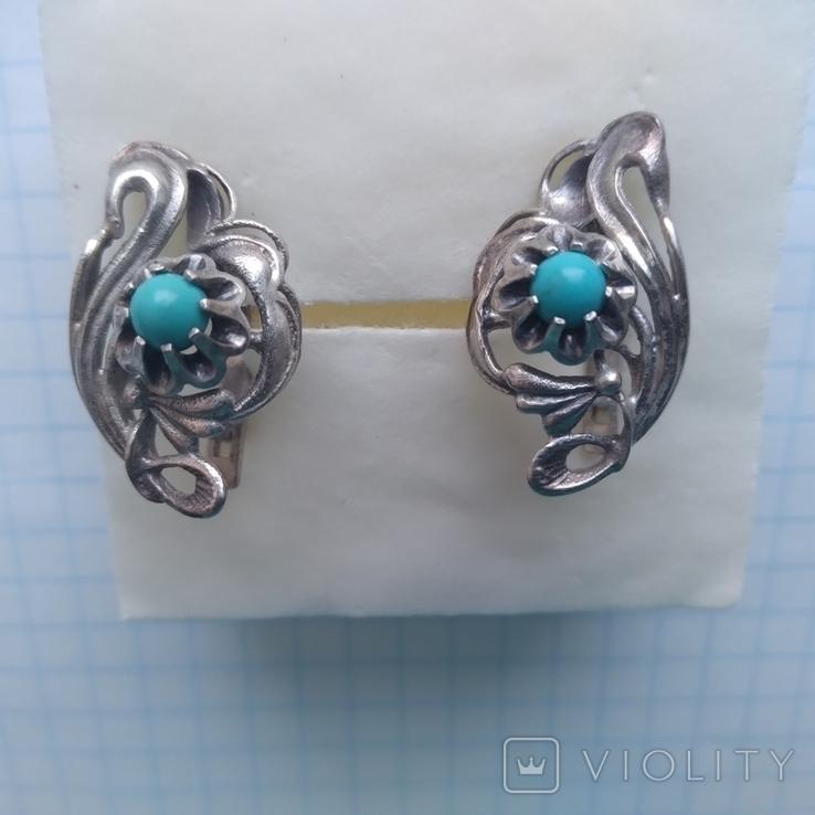 Сережки срібні 4,7 г з бірюзою, фото №2