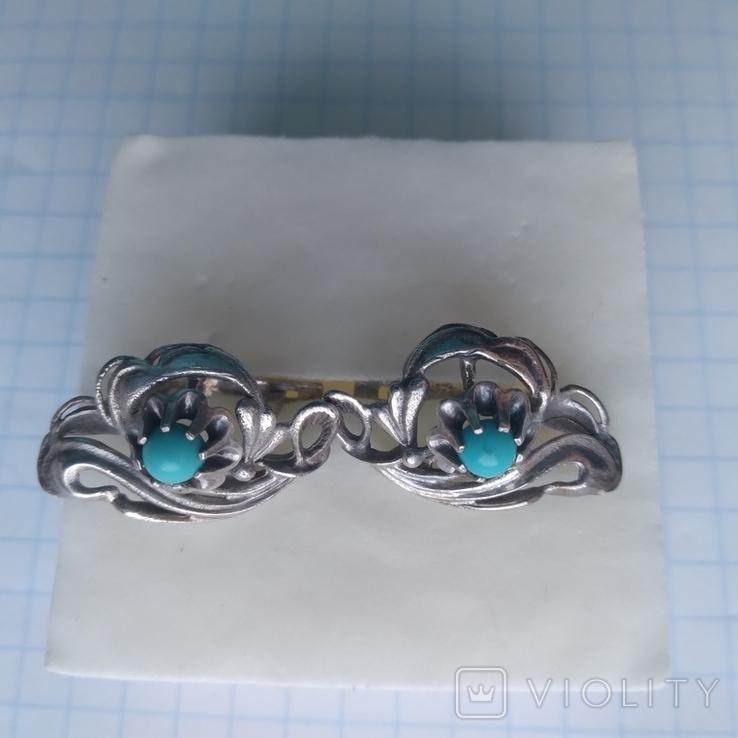 Сережки срібні 4,7 г з бірюзою, фото №3