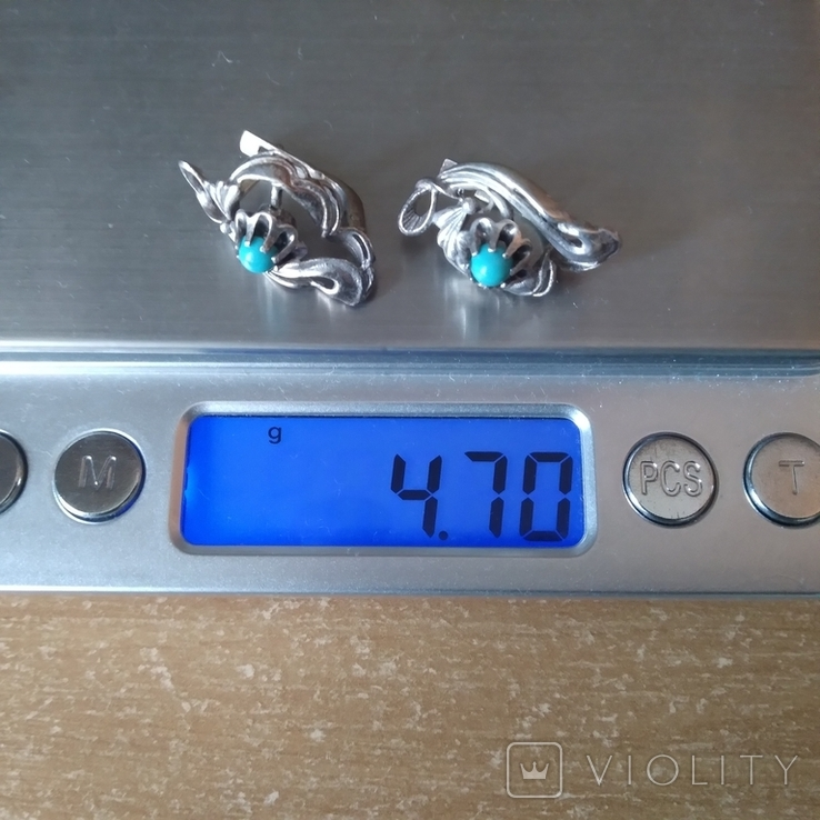 Сережки срібні 4,7 г з бірюзою, фото №6