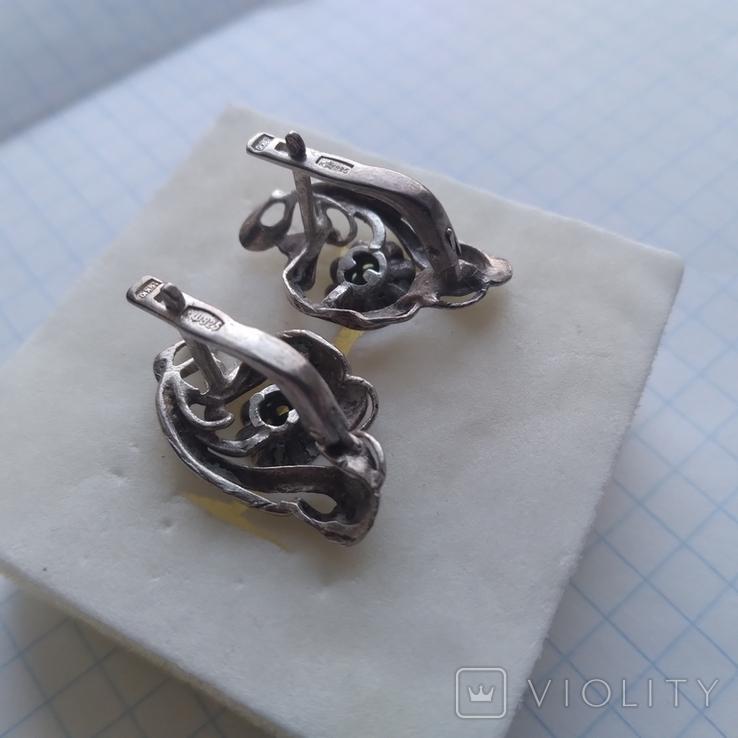 Сережки срібні 4,7 г з бірюзою, фото №7