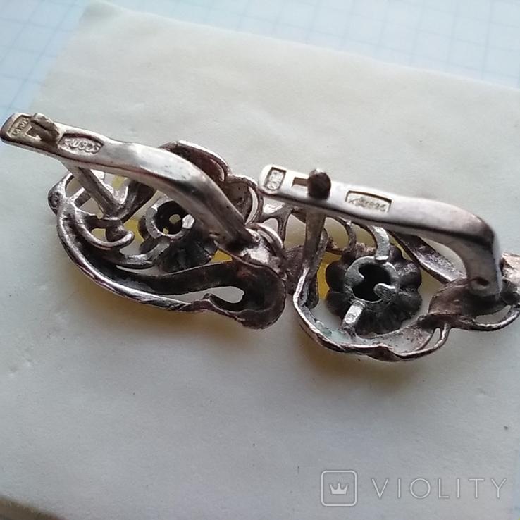 Сережки срібні 4,7 г з бірюзою, фото №8