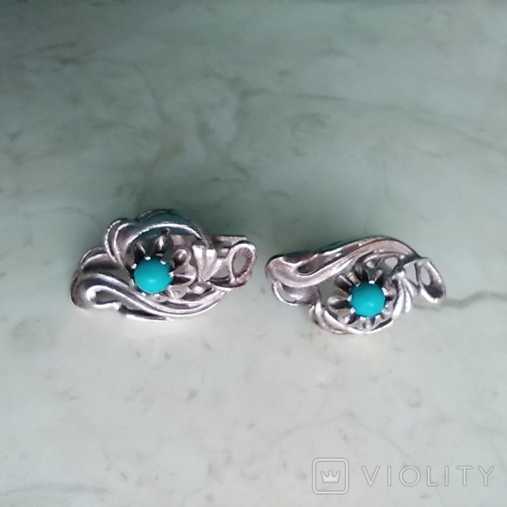 Сережки срібні 4,7 г з бірюзою, фото №9