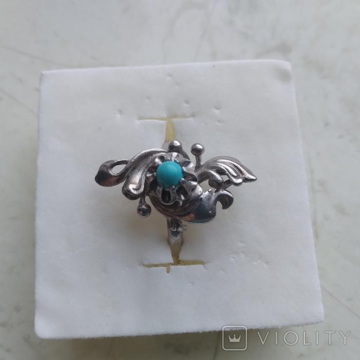 Перстень срібний 925 СССР з бірюзою 4г (р.18 - 18,5), фото №2