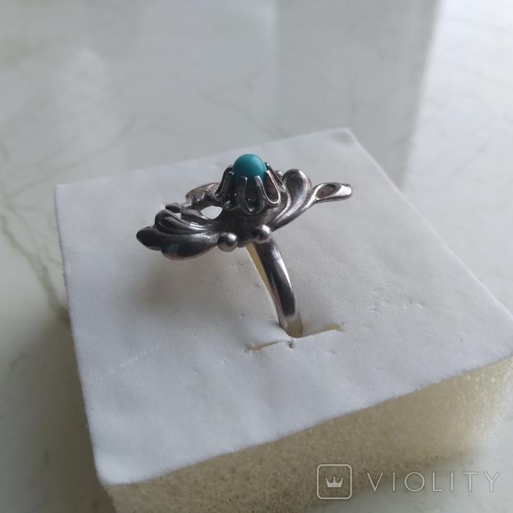 Перстень срібний 925 СССР з бірюзою 4г (р.18 - 18,5), фото №5