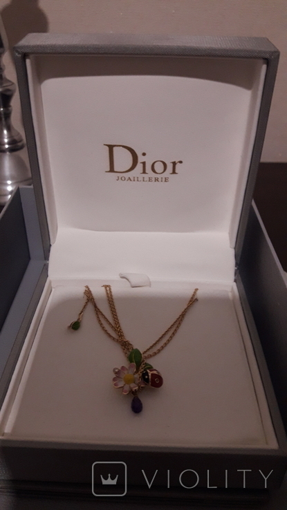 Оригинальная золотая подвеска Dior c бриллиантом и аметистом., фото №3