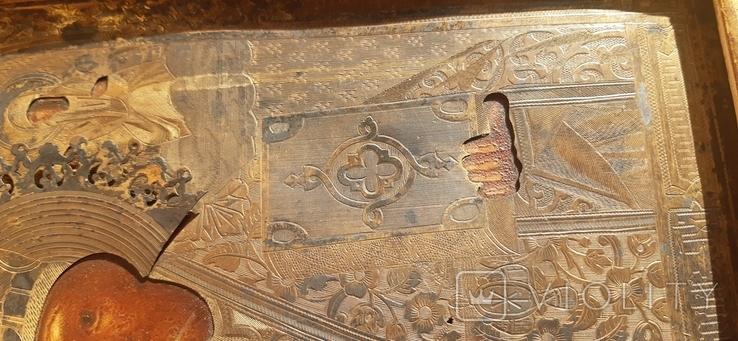 Икона в киоте св. Николай серебро позолота, фото №9