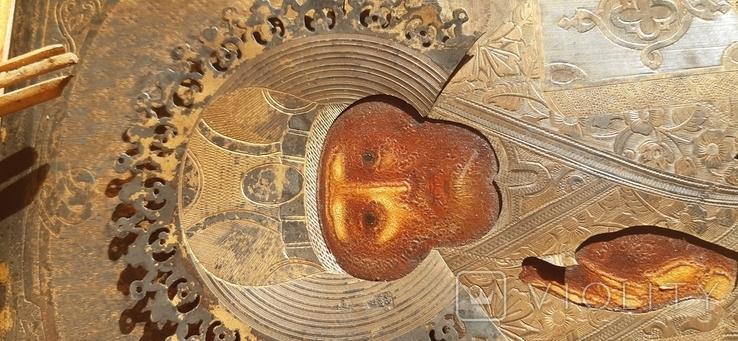Икона в киоте св. Николай серебро позолота, фото №10