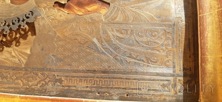 Икона в киоте св. Николай серебро позолота, фото №12