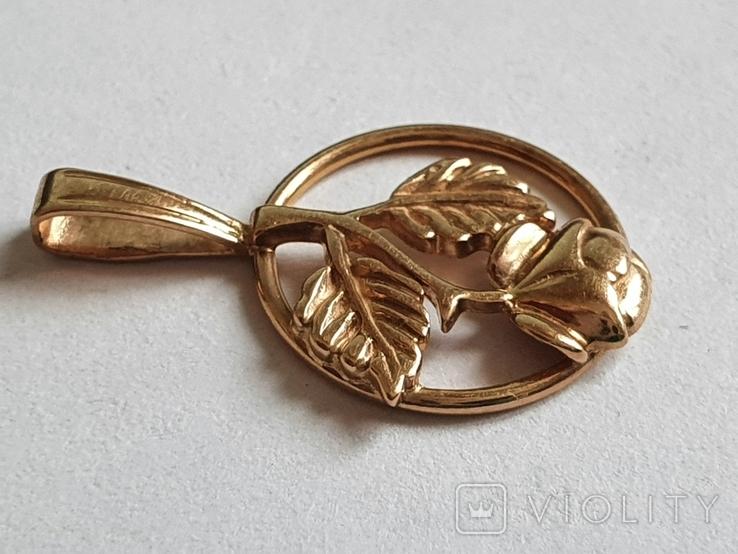 Советский кулон. Золото 583 проба. Роза., фото №4