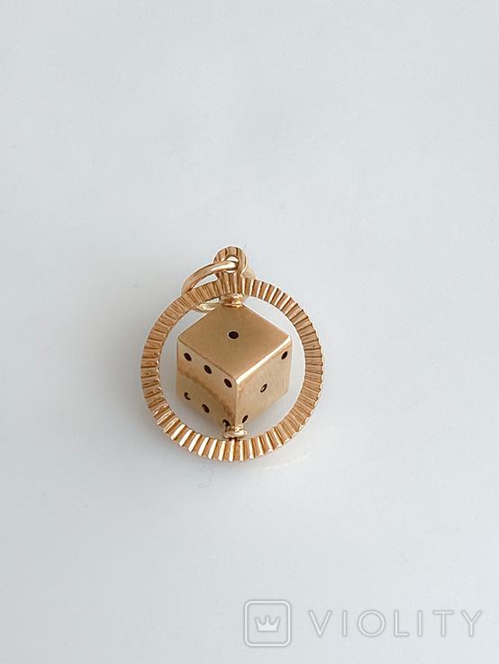 """Кулон """"Игральный кубик"""". Золото 750 проба., фото №12"""