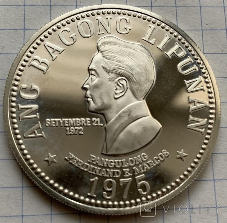 Монета 50 песо, 1975 год, Филипины, серебро 975, вес 27,53 грамм, фото №2