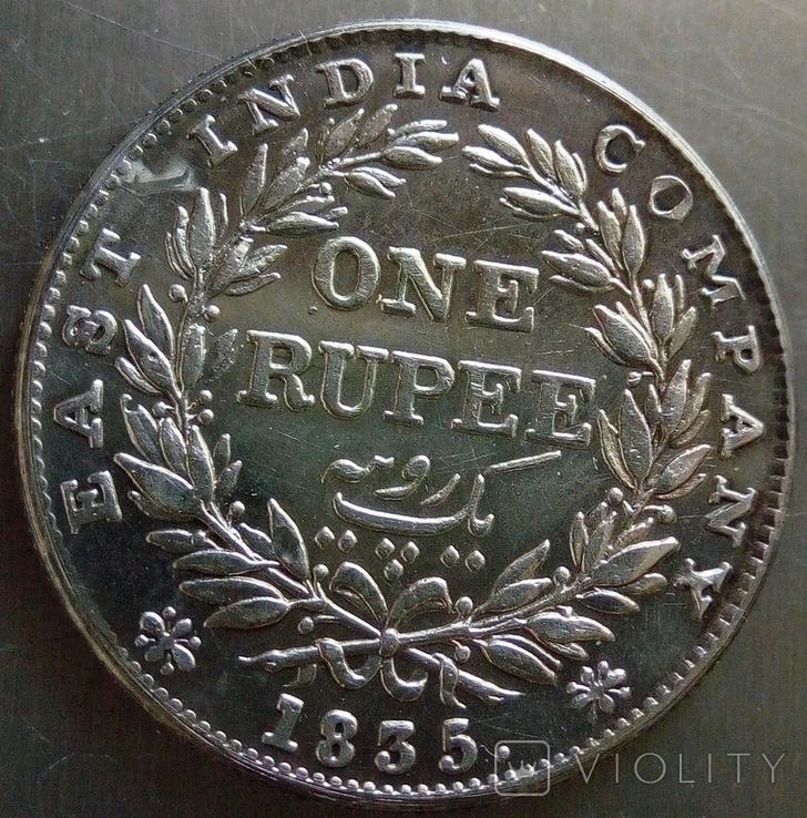 1 рупія 1835 року Індія -колонія Великої Британії, фото №4