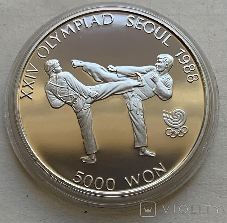 Монеты 5000 вон, 5 штук, серебро 925, вес 16,8 грамма, Олимпиада Сеул 1987 год, фото №5