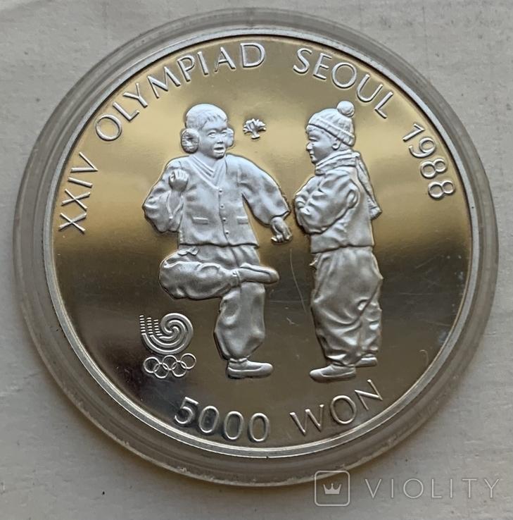 Монеты 5000 вон, 5 штук, серебро 925, вес 16,8 грамма, Олимпиада Сеул 1987 год, фото №6