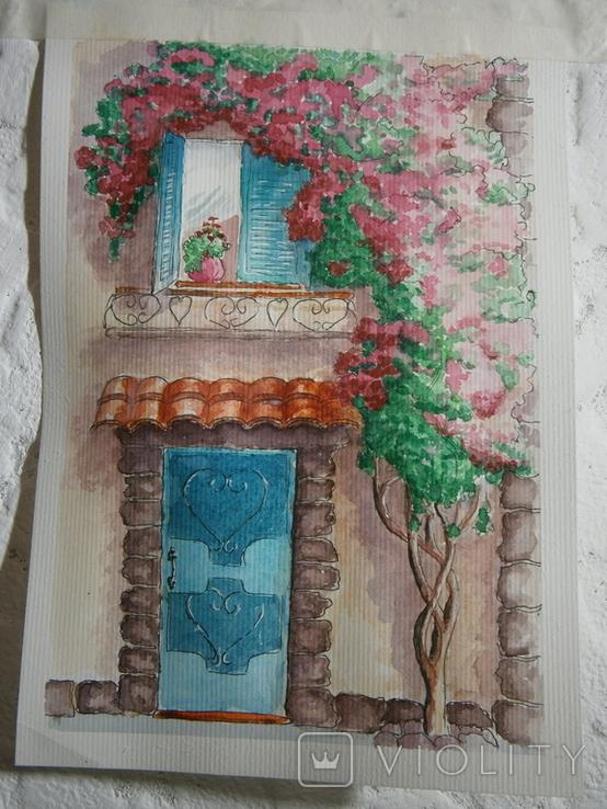 """""""Мамине віконце"""" акварель скетч дом цветы автограф, фото №3"""