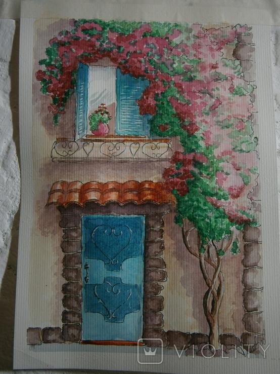 """""""Мамине віконце"""" акварель скетч дом цветы автограф, фото №4"""