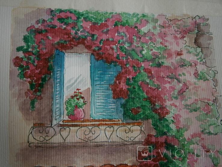 """""""Мамине віконце"""" акварель скетч дом цветы автограф, фото №5"""