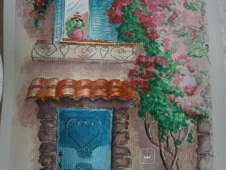 """""""Мамине віконце"""" акварель скетч дом цветы автограф, фото №6"""