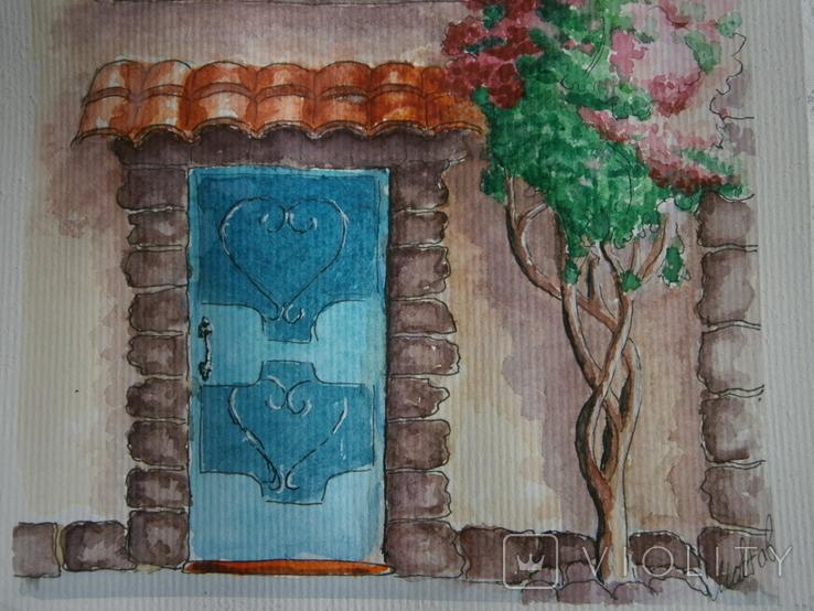 """""""Мамине віконце"""" акварель скетч дом цветы автограф, фото №7"""