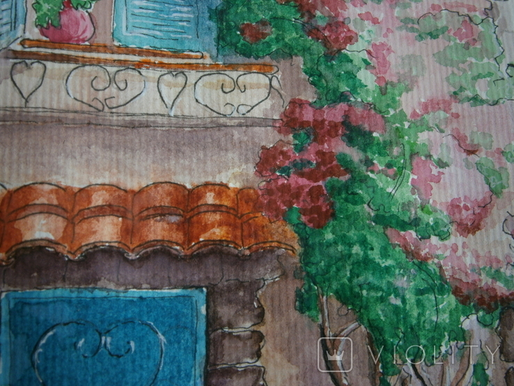 """""""Мамине віконце"""" акварель скетч дом цветы автограф, фото №8"""
