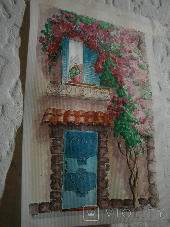 """""""Мамине віконце"""" акварель скетч дом цветы автограф, фото №9"""