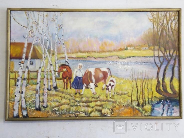 """""""Осенний перелет лебедей"""", масло, холст, фото №2"""