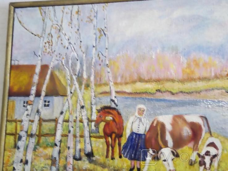 """""""Осенний перелет лебедей"""", масло, холст, фото №3"""