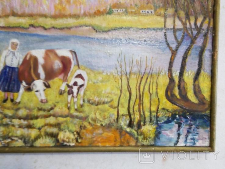 """""""Осенний перелет лебедей"""", масло, холст, фото №4"""