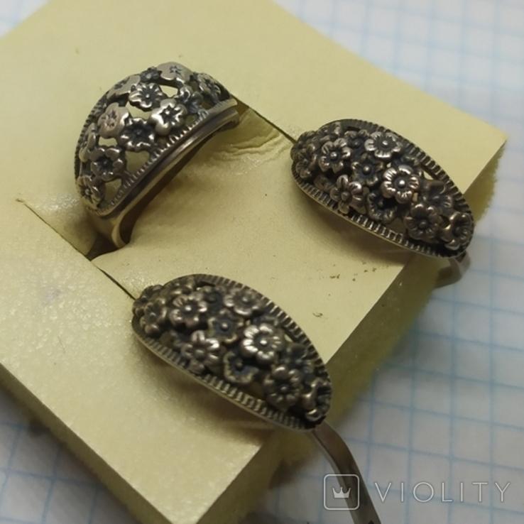 Кольцо и серьги с цветочками. Серебро 875 Звезда. Вес 10,08гр, фото №4