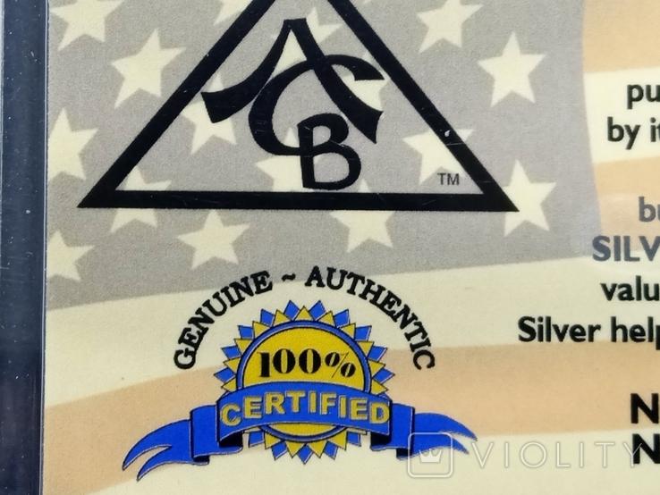 Слиток серебра США с сертификатом подлинности 999 проба 5 грамм., фото №4