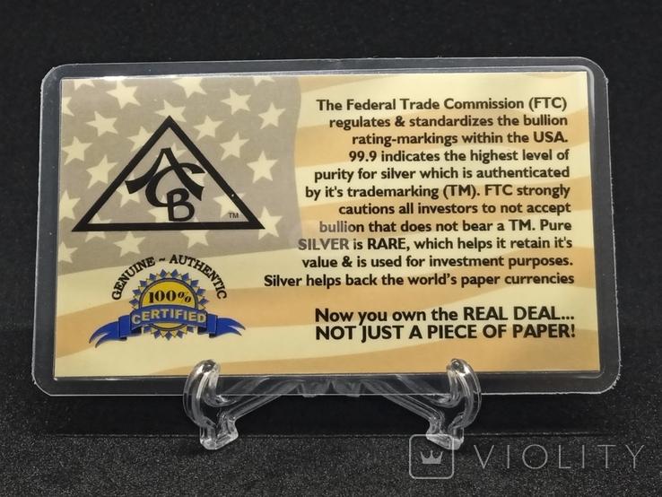 Слиток серебра США с сертификатом подлинности 999 проба 5 грамм., фото №5