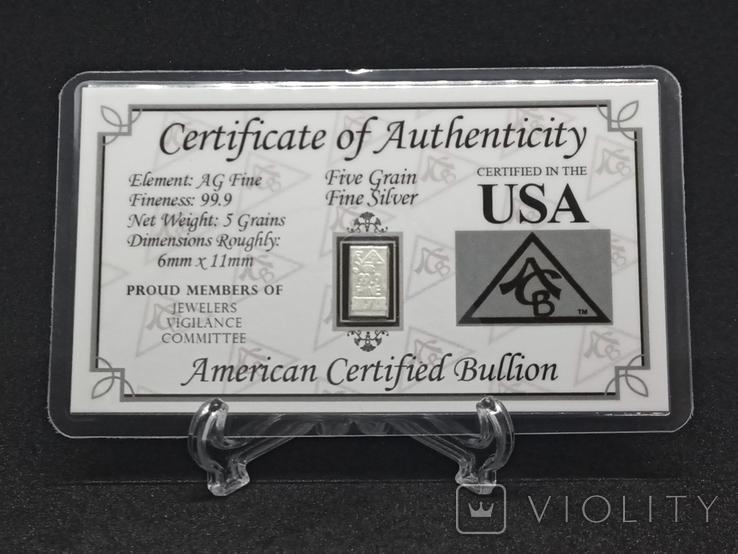 Слиток серебра США с сертификатом подлинности 999 проба 5 грамм., фото №2