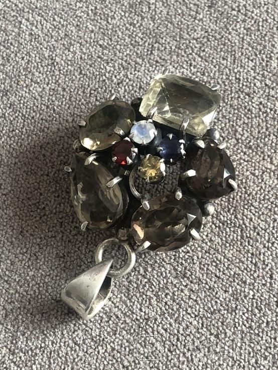 Массивный серебряный кулон с цитрином и раухтопазом (серебро 925 пр, вес 26 гр), фото №9