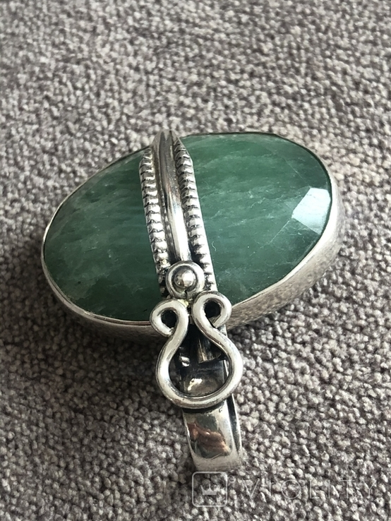 Серебряный кулон с изумрудом(серебро 925 пр, вес 11,5 гр), фото №5