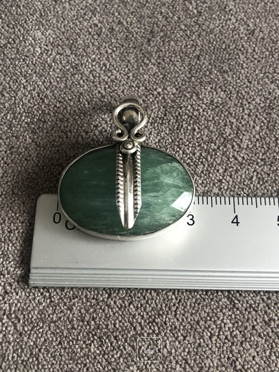 Серебряный кулон с изумрудом(серебро 925 пр, вес 11,5 гр), фото №9