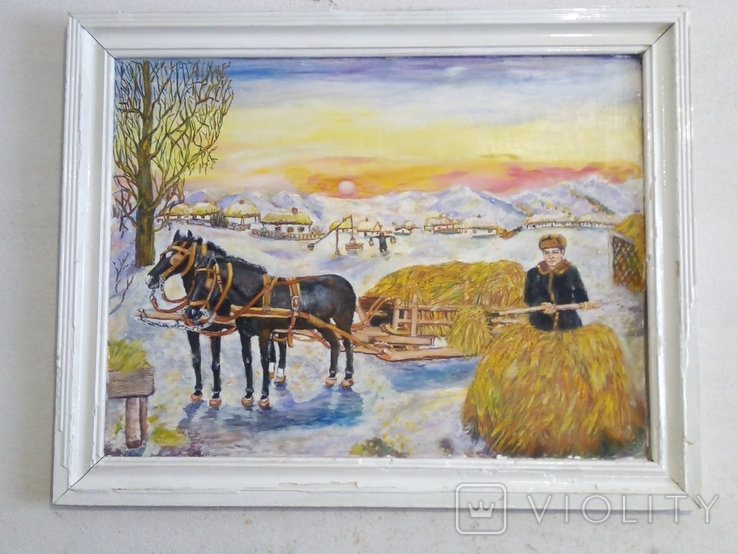 """Жанровая картина маслом """"Вечереет"""", 56*43см,стиль соцреализм, фото №2"""
