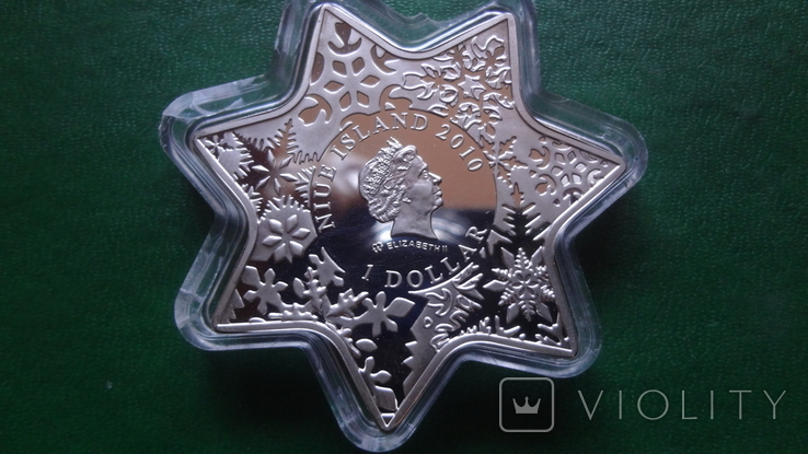 1 доллар 2010 Ниуэ Рождество.Звезда Кристаллы серебро унция, фото №4