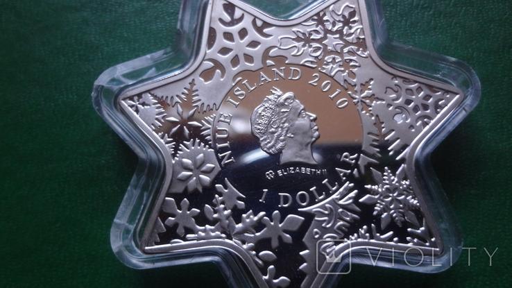 1 доллар 2010 Ниуэ Рождество.Звезда Кристаллы серебро унция, фото №5