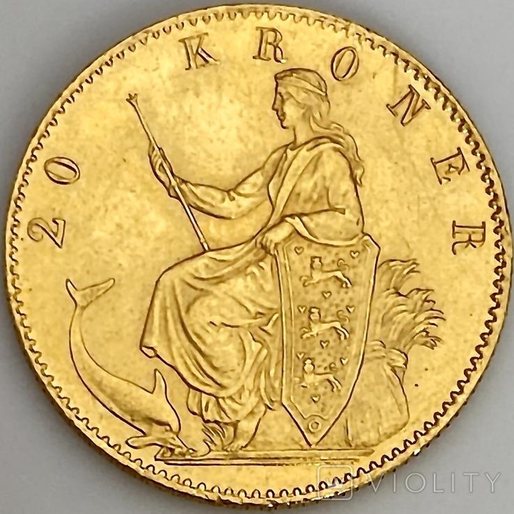 20 крон. 1873. Кристиан IX. Дания (золото 900, вес 8,97 г), фото №3
