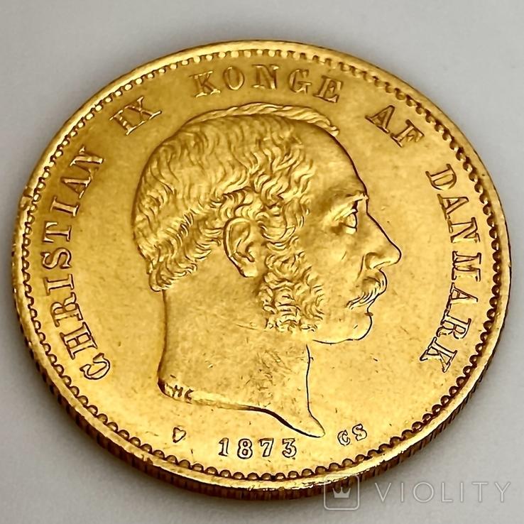 20 крон. 1873. Кристиан IX. Дания (золото 900, вес 8,97 г), фото №8