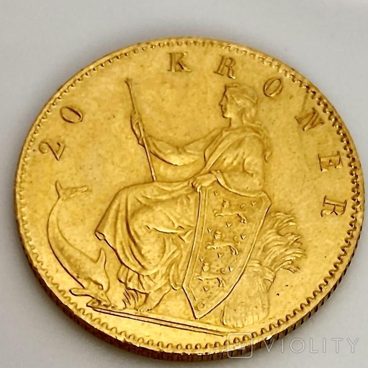 20 крон. 1873. Кристиан IX. Дания (золото 900, вес 8,97 г), фото №9