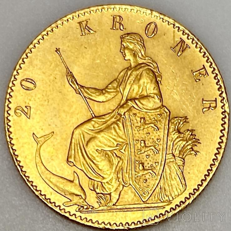 20 крон. 1873. Кристиан IX. Дания (золото 900, вес 8,97 г), фото №11