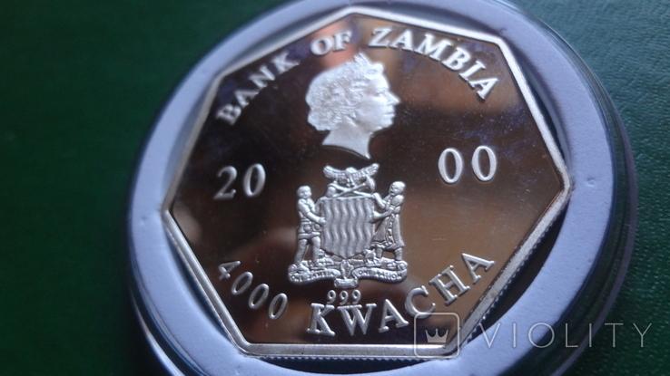 4000 квача 2000 Замбия Календарь серебро 999, фото №8
